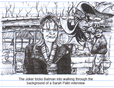 Batman gets ground up behind Sarah Palin