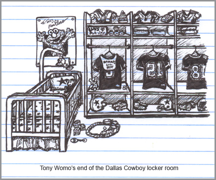 The Tony Romo end of the Dallas Cowboy locker room