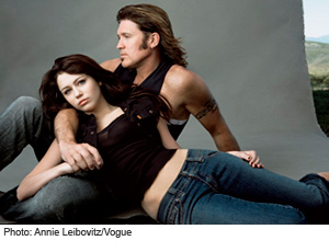 Miley Cyrus and Billy Ray Cyrus in Vogue by Annie Leibovitz