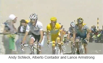 Andy Schleck Alberto Contador and Lance Armstrong