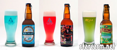 The Abashiri Brewery in Japan makes blue red and green beer and they do it right!