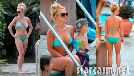 Britney Spears in a teal bikini with kids in Marina Del Rey California