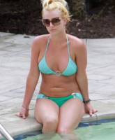 Britney Spears at the pool in a teal bikini