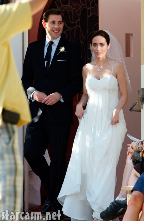 Emily Blunt and her husband John Krasinski on their wedding