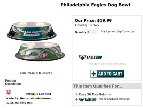 Michael Vick Philadelphia Eagles dog dishes