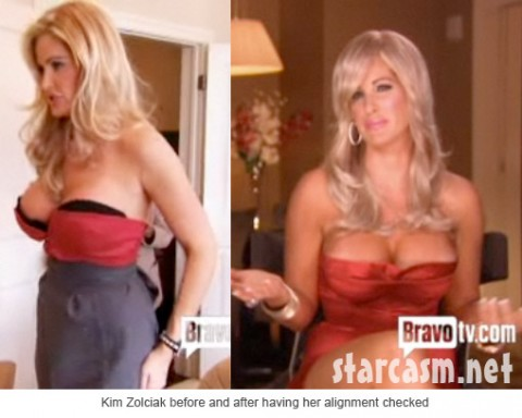 Kim Zolciak with her breasts in alignment and out