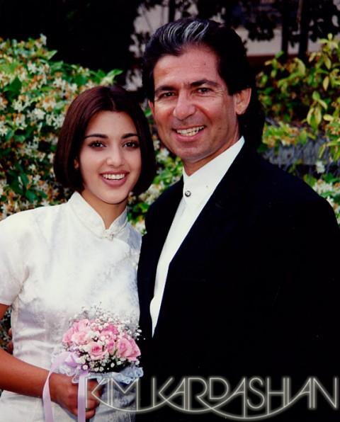 Kim Kardashian and father Robert Kardashian when she was 14 years old