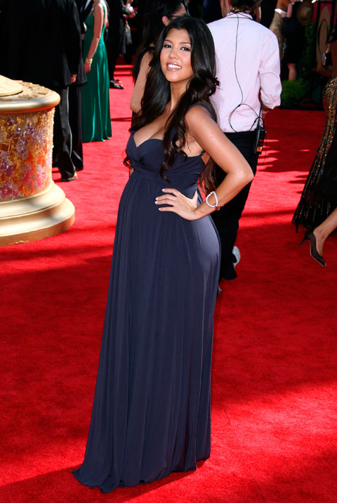 The pregnant Kourtney Kardashian on the red carpet at the 2009 61st Annual Primetime Emmy Awards