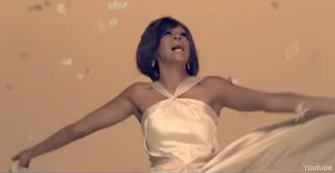 Whitney Houston from the video for I Look To You