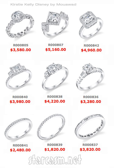 Kirstie Kelly Disney wedding rings and prices