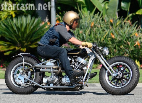 Brad Pitt on his custom motorcycle