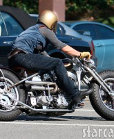 Brad Pitt and his motorcycle before the crash