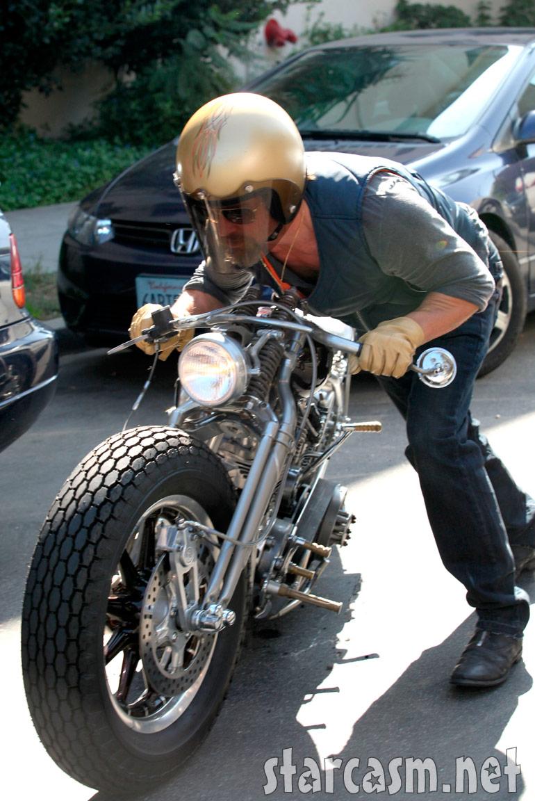 Pics photos brad pitt on motorcycle - Brad Pitt Pushes His Wrecked Motorcycle