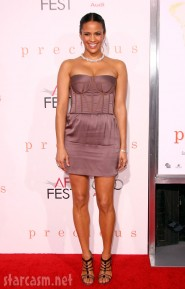 Paula Patton arriving at the Premiere of Precious in Hollywood
