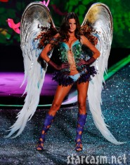 Izabel Goulart in lingerie and wings