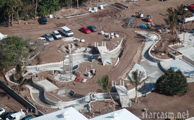 Celine Dion's backyard swimming pool on Jupiter Island is more like a water park