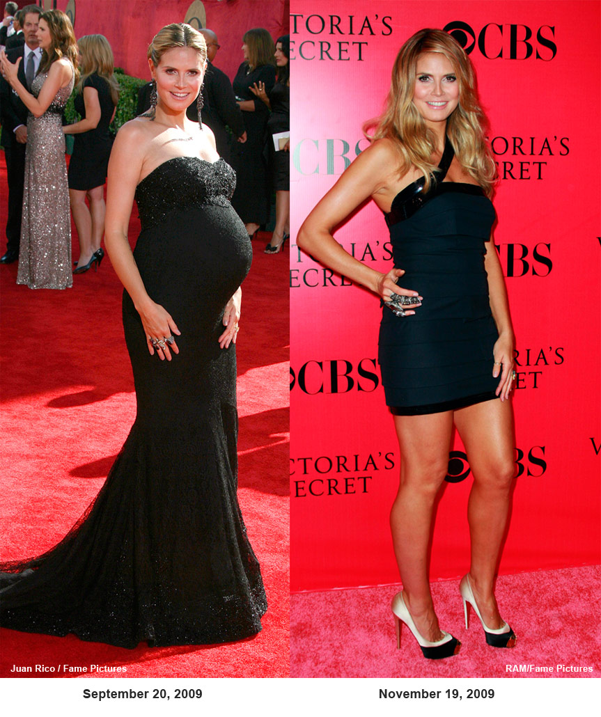 PHOTOS Heidi Klum before and after pregnancy at 2009 Victoria's ...