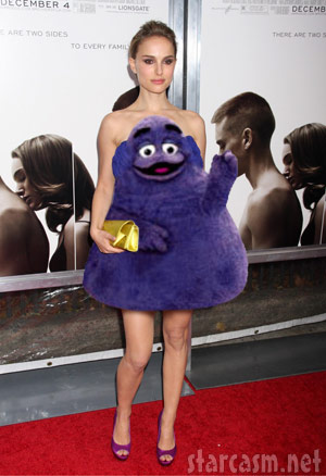 Natalie Portman looking sexy in a Grimace dress