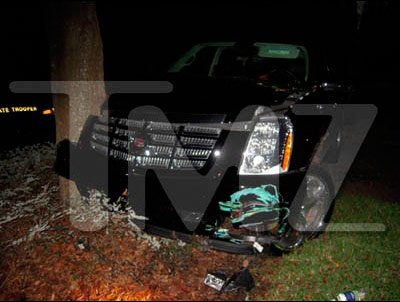Tiger Woods' Cadillac Escalade after the crash