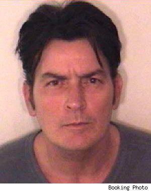 Charlie Sheen mugshot from Christmas morning 2009