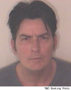 Original Charlie Sheen mugshot taken after his Christmas day arrest for assaulting his wife