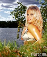 Elin Nordegren models lingerie in the woods