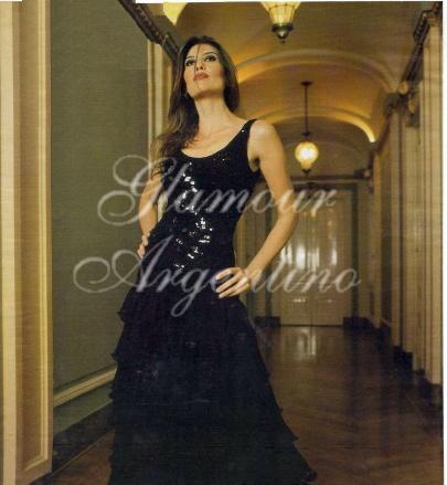 Solange Magnano models a formal black evening gown