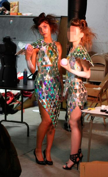 Farrah Abraham from MTV's Teen Mom odels some wild clothes with a friend