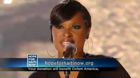 Jennifer Hudson sings the Lennon McCartney classic Let It Be ont he Haiti relief telethon