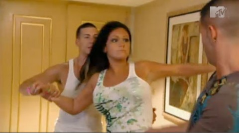 While in Atlantic City, Jenni JWoww Farley pnches and slaps Mike The Situation Sorrentino
