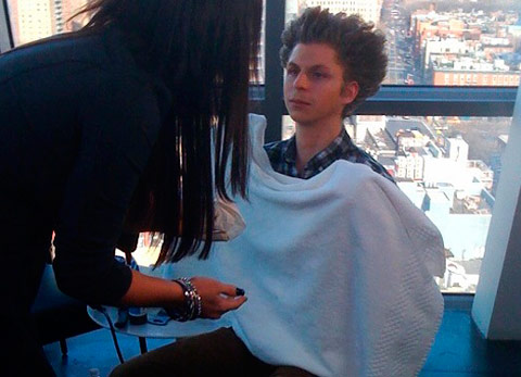 Michael Cera in the process of becoming a Guido complete with The Blowout hairdo