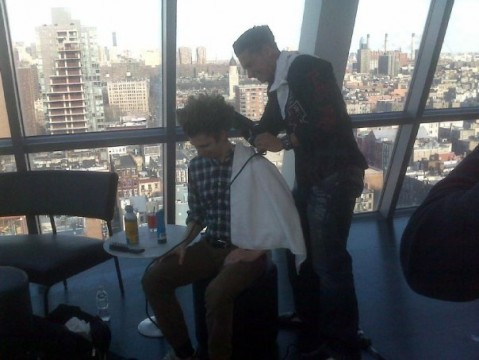 Michael Cera gets his hair done by the Jersey Shore's Paul DelVecchio