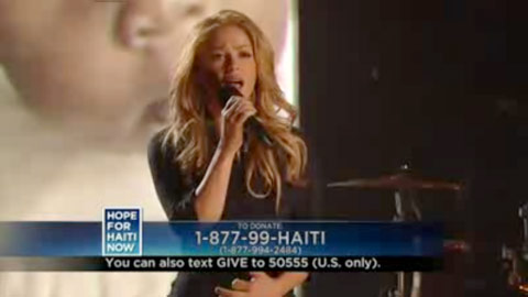 Shakira sings Chrissie Hynde's I'll Stand By you on the Haitian relief telethon