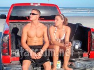 Vienna Girardi and Brian Lee Smith tailgating topless on the beach