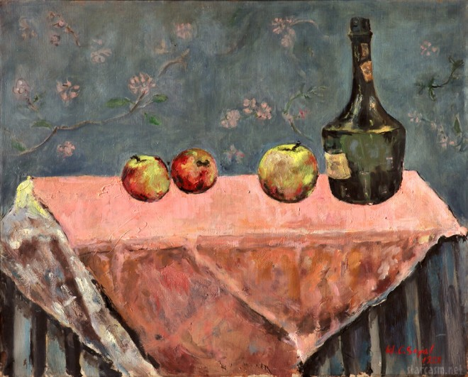 "William Segal's ""Still Life with Pink Tablecloth"" painted in 1953"