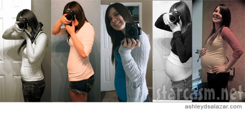 Ashley Salazar blogs photos of herself in various stages of pregnancy