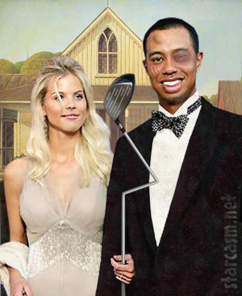Tiger Woods and wife Elin Nordegren in American Gothic
