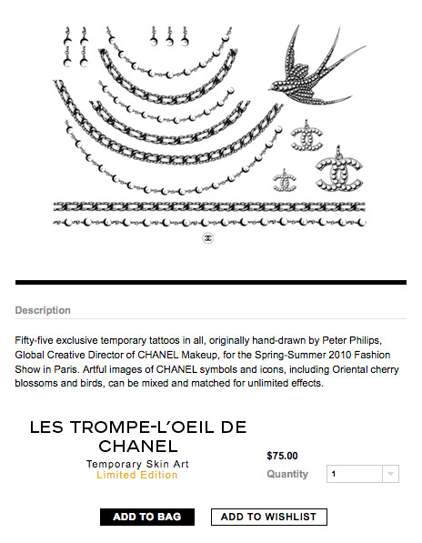 The temporary fake Chanel tattoos worn by Lindsay Lohan at the Cannes Film