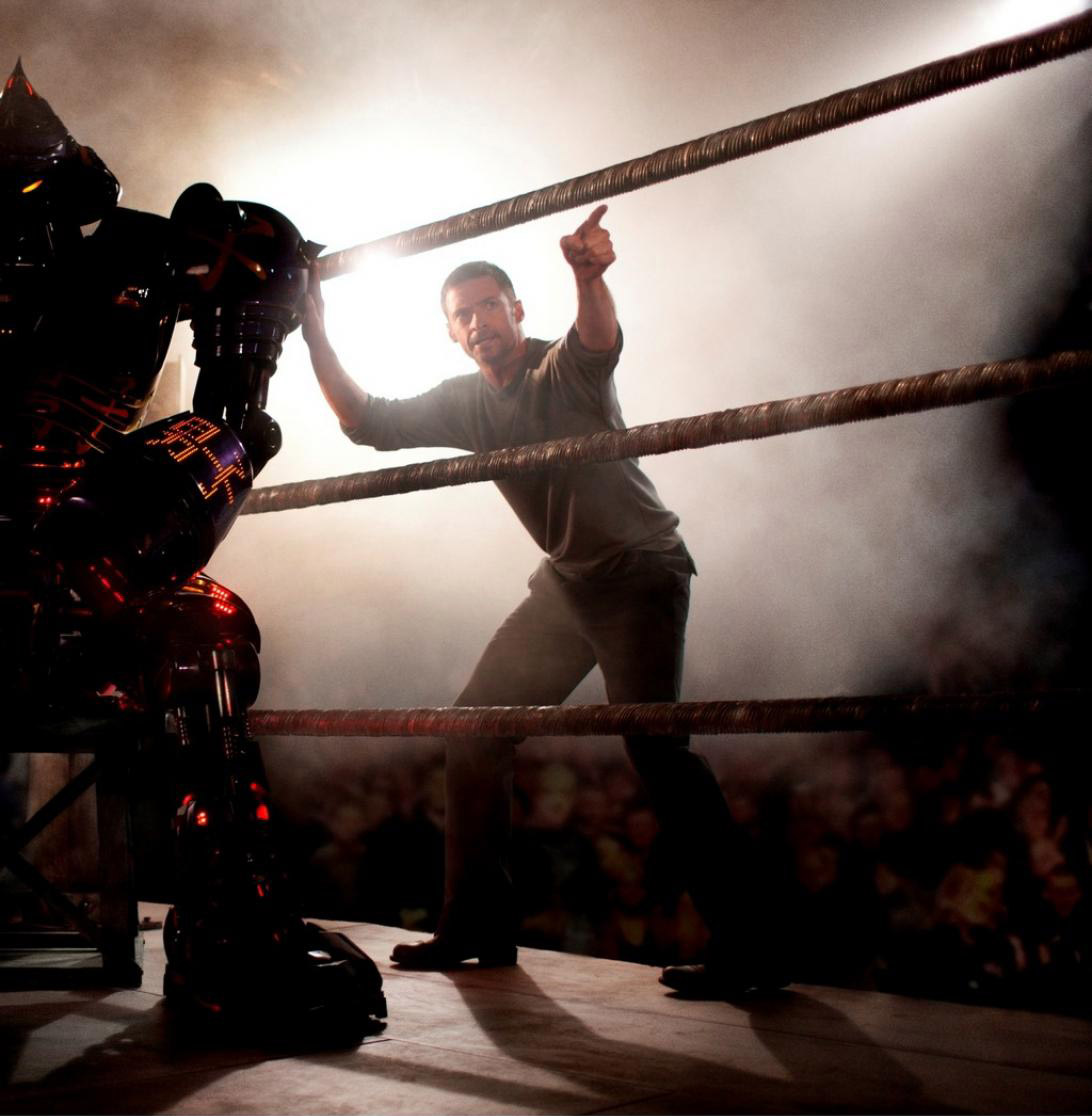 Hugh Jackman and Noisy Bot at Crash Palace from Real Steel