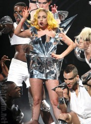 Lady Gaga in a metallic costume from her Monster Ball tour