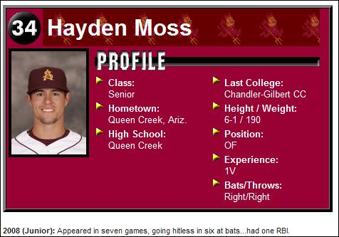 Hayden Moss' Arizona State baseball profile