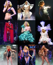 Lady Gaga Monster Ball Tour costume collage