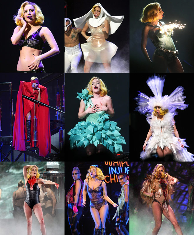 lady gaga costume changes collage