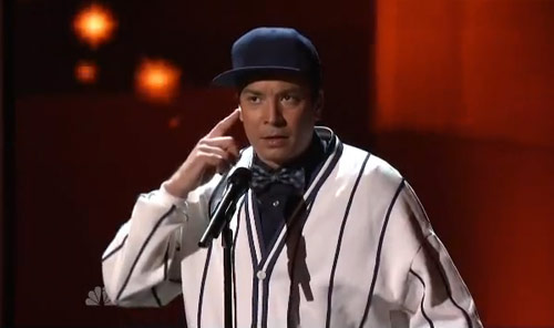Jimmy Fallon performs as Boys II Men at the Emmy Awards