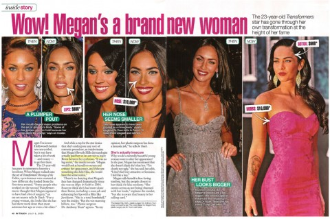 In Touch magazine article addressing whether or not Megan Fox has had plastic surgery