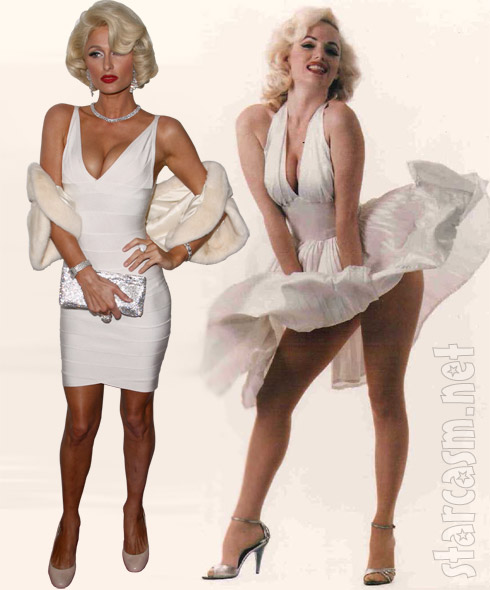 Paris Hilton as Marilyn Monroe wearing a similar white dress