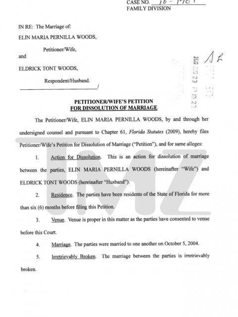 Tiger Woods And Elen Nordegren Divorce Documents 8-23-10