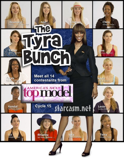 Tyra Banks and the 14 contestants from Cycle 15 of America's Next Top Model