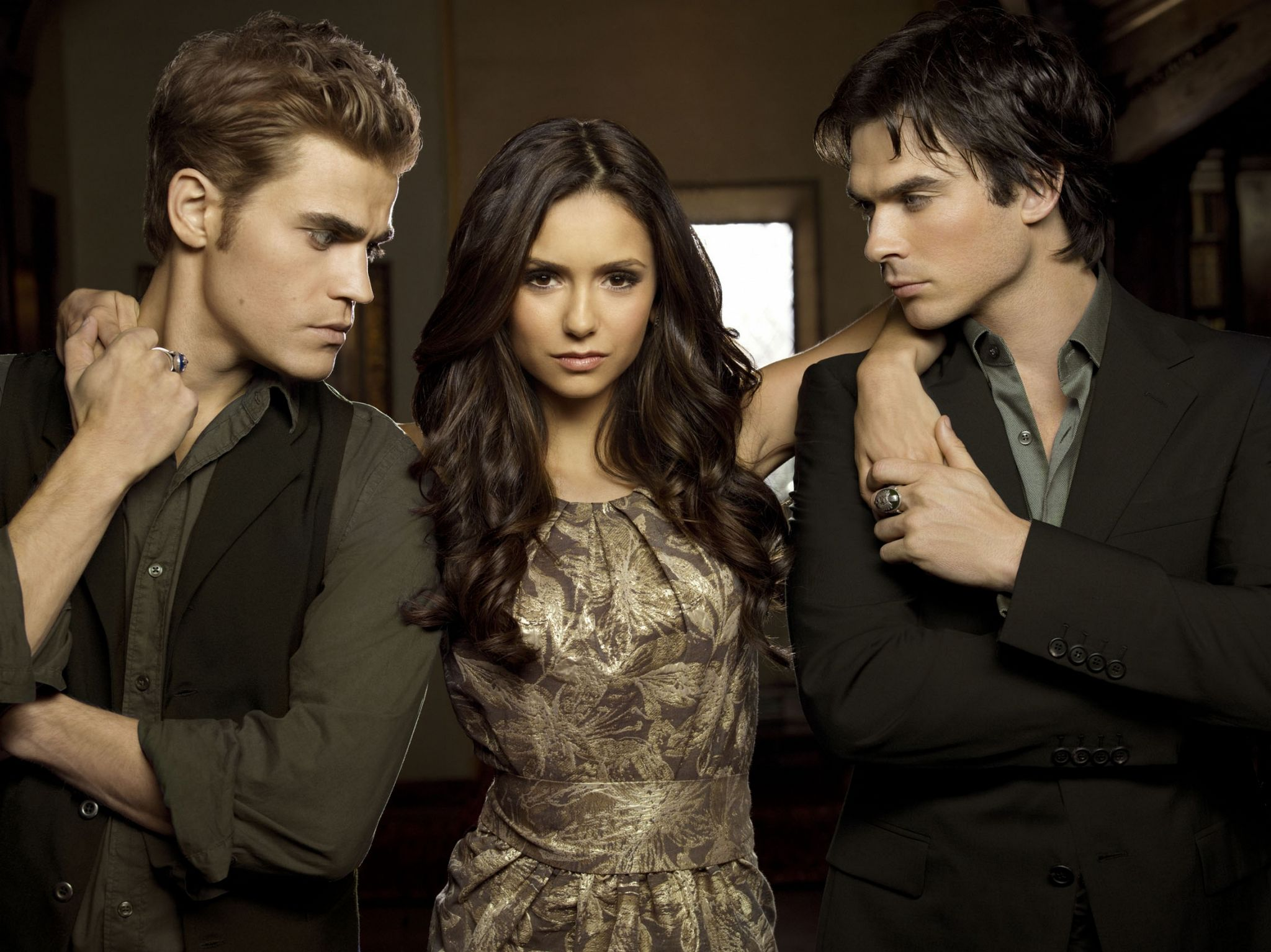 Paul Wesley, Nina Dobrev and Ian Somerhalder as Stefan, Elena and Damon