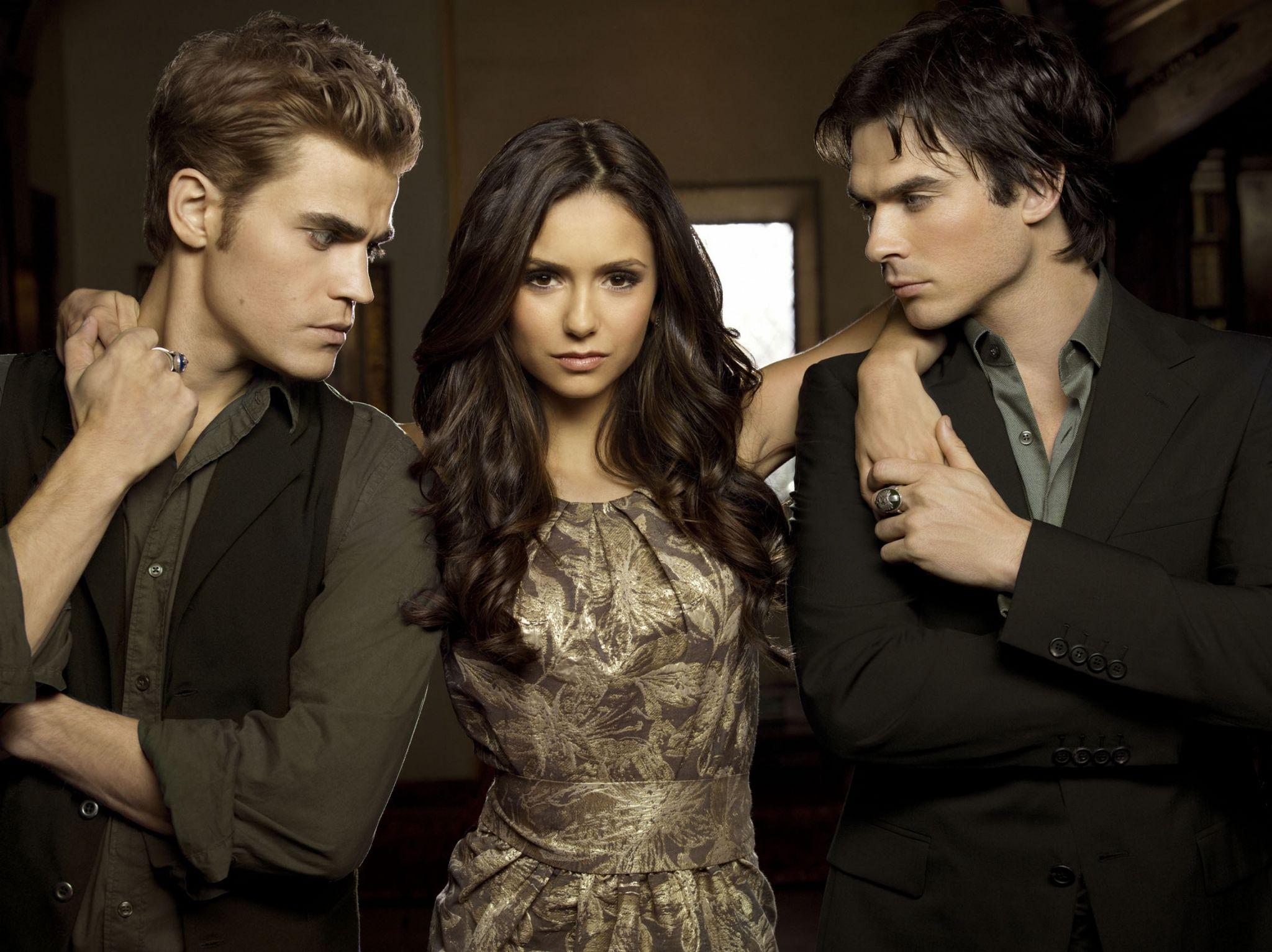 Paul Wesley, Nina Dobrev and Ian Somerhalder as Stefan, Elena and Damon